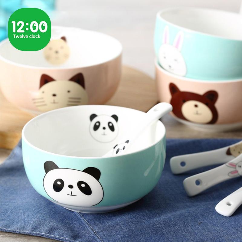 碗家用吃饭个性可爱创意陶瓷碗儿童碗可爱少女心碗筷套装餐具礼品