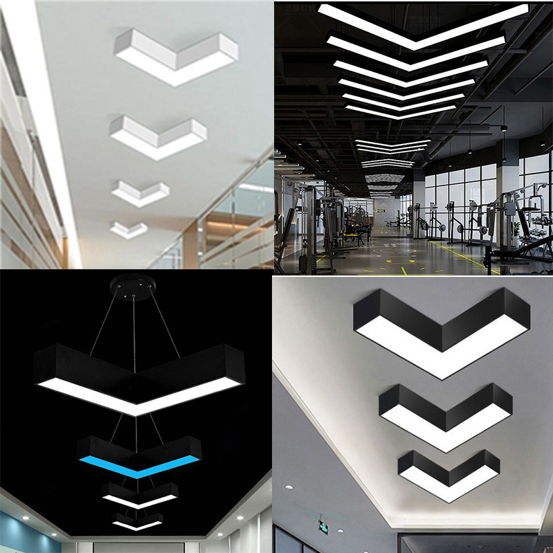 Led modeling lamp office arrow chandelier gym Internet cafe shop shopping mall corridor V-shaped industrial wind lamp