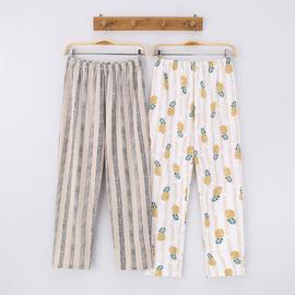 秋季纯棉睡裤厚款印花菠萝条纹男女休闲家居裤可外穿情侣居家长裤图片