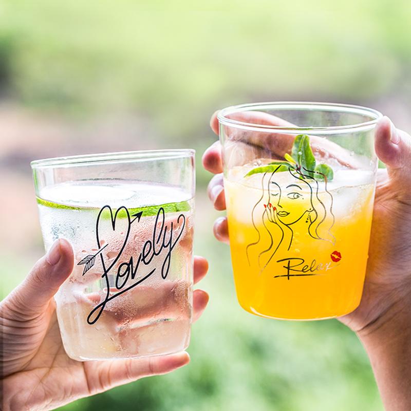 Lototo潮流学生水杯女ins风创意网红抖音宜家杯子家用透明玻璃杯
