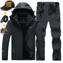 字刺绣工装LOGO户外冬季潮牌冲锋衣女三合一两件套衣裤套装定制印