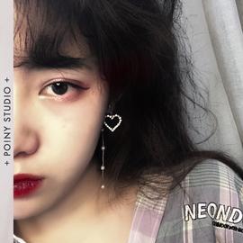 桃心形韩国网红镂空闪钻爱心形温柔甜美珍珠长款不对称耳环耳夹女