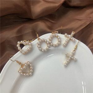 耳环圆形心形十字架爱心珍珠巴洛克可爱少女日系甜美个性圈圈耳钉