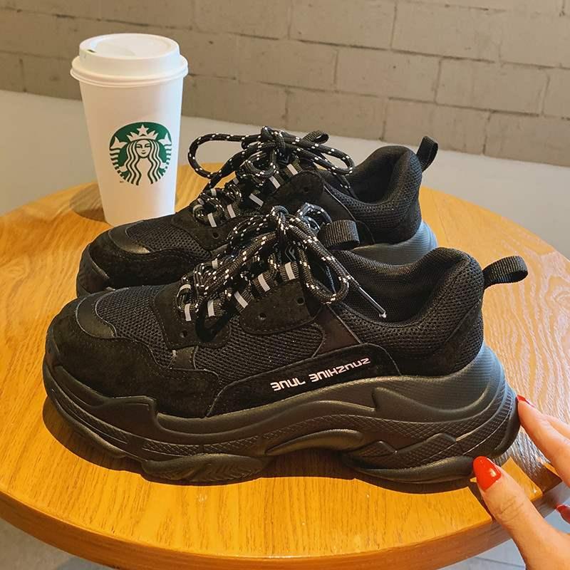 老爹鞋女ins潮秋冬款厚底增高网红百搭轻便智熏鞋黑色复古运动鞋