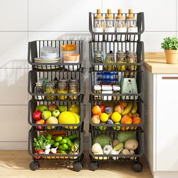 厨房蔬菜置物架落地多层多功能家用放菜架子水果零食收纳筐储物篮