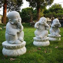 中式禅意小和尚摆件创意庭院小沙弥佛像仿古石头雕塑户外花园装饰