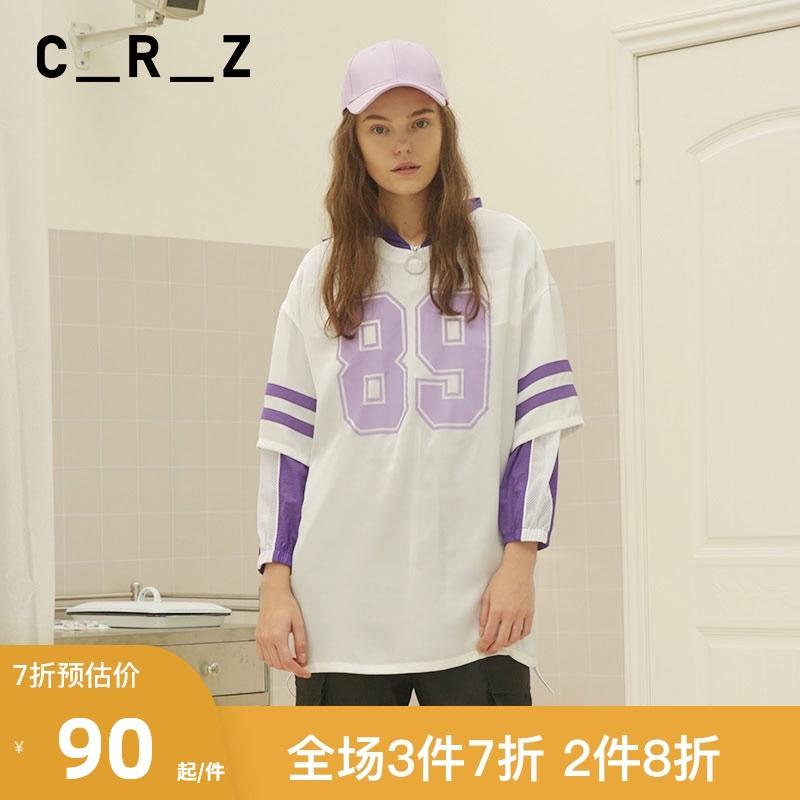 CRZ潮牌女装夏季新款数字条纹特色个性印花宽松短袖T恤CDM2V196