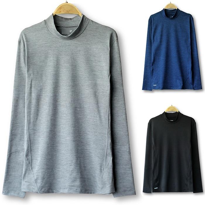 Autumn and winter mens foreign trade thick fleece oversize T-Shirt Medium high collar long sleeve bottoming shirt stand collar sports elastic T-shirt