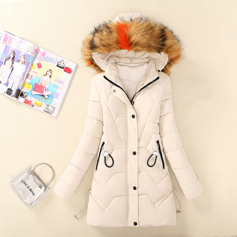 New middle and long cotton padded jacket for female junior high school students aged 14-16 years old