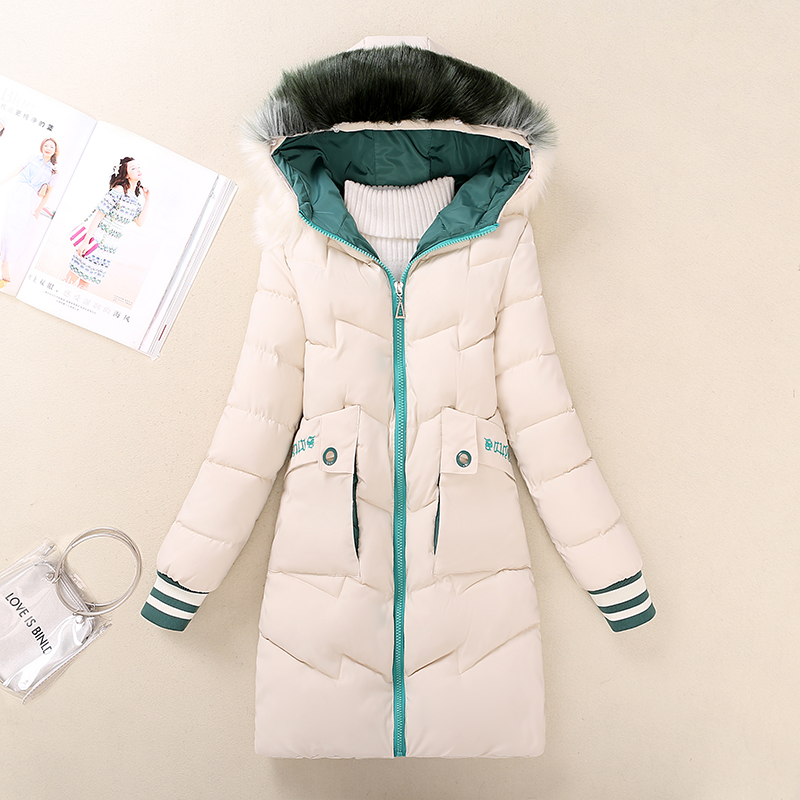 Korean version of middle school students winter dress womens down cotton padded jacket thickened medium length warm girls cotton padded jacket and slim fitting 16 coat