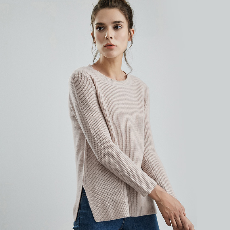 Miaoke autumn and winter new round neck cashmere sweater French style lazy wind shows thin front short back long Han banhou woolen girl