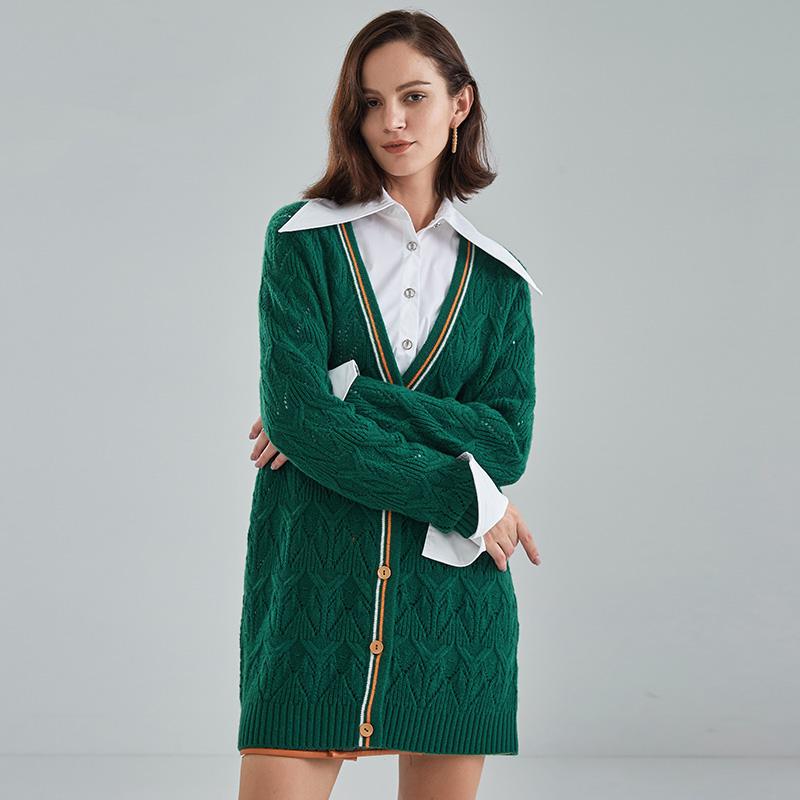 妙客2020秋冬新款镂空羊毛绿色针织开衫中长款复古奶奶毛衣外套女