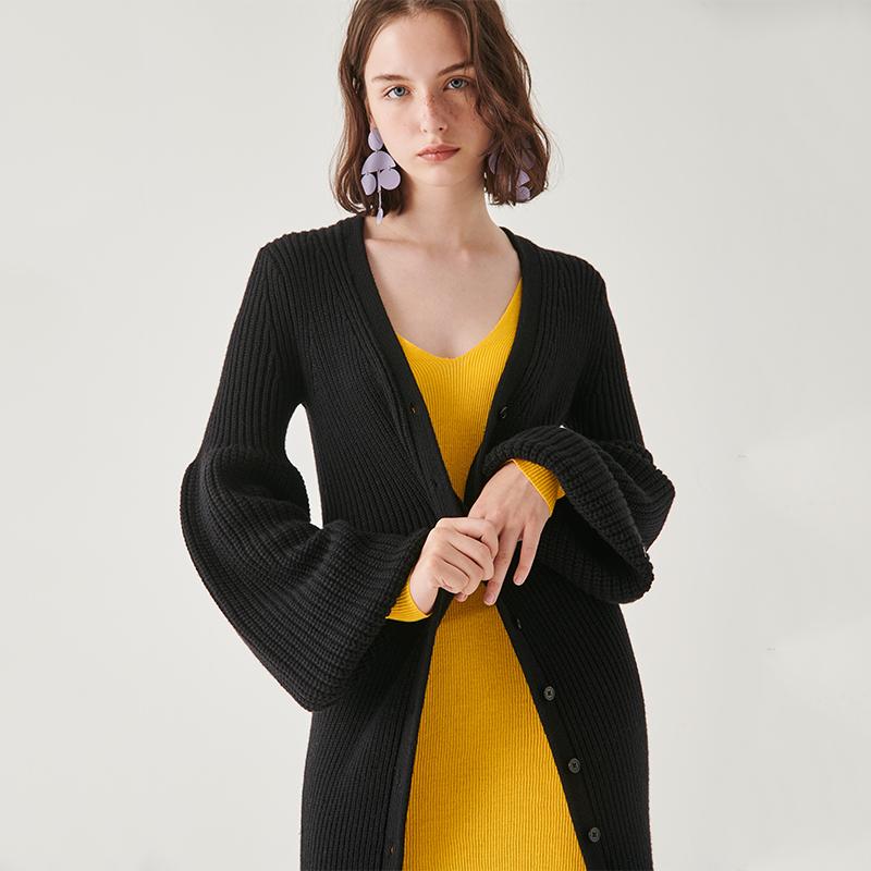 Miaoke knitted cardigan 2020 new long V-neck cardigan knitted casual thin Lantern Sleeve Sweater Coat womens fashion