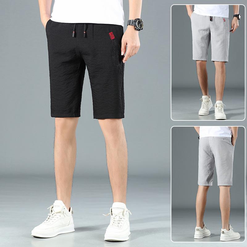 Summer mens trend elastic waist thin breathable mens casual beach pants shorts Capris pants breeches