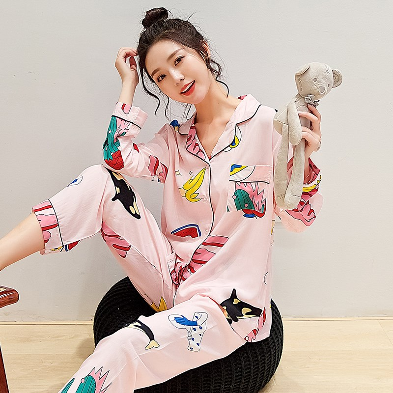 Spring and autumn cotton silk pajamas womens thin cardigan set summer long sleeves can be worn outside artificial cotton silk home clothes
