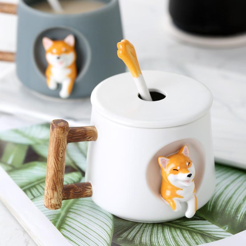 创意卡通柴犬情侣一对带盖勺陶瓷杯