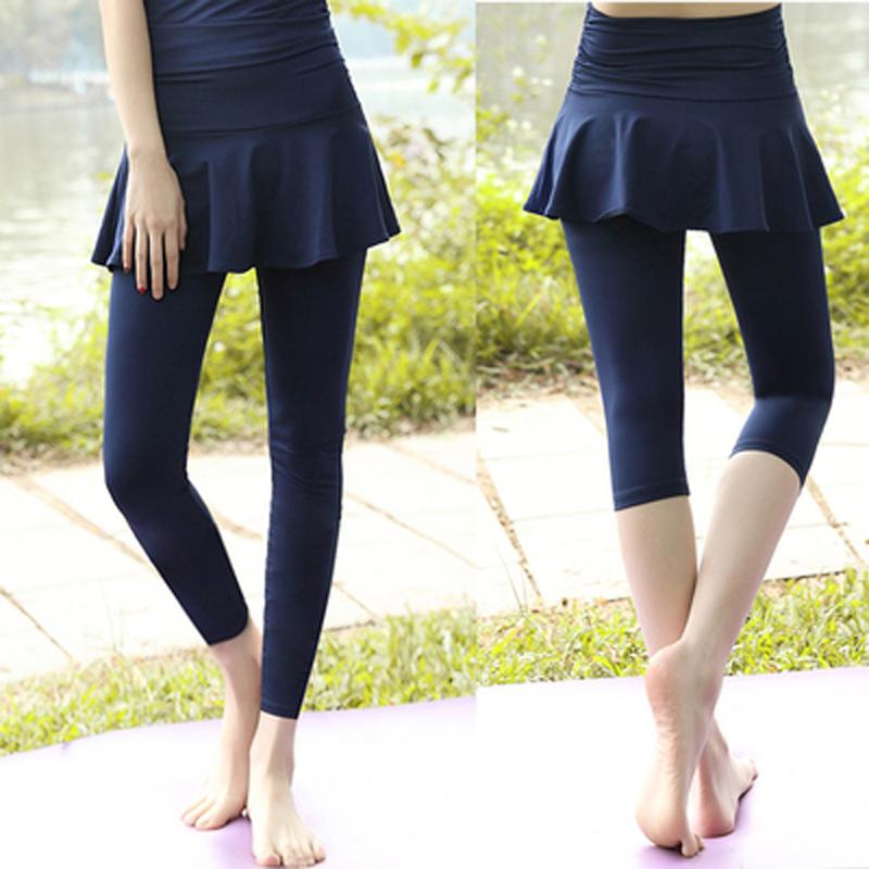 Elastic Yoga Pants womens tight high waist fake two-piece skirt pants fitness training quick drying running pants sports Capris