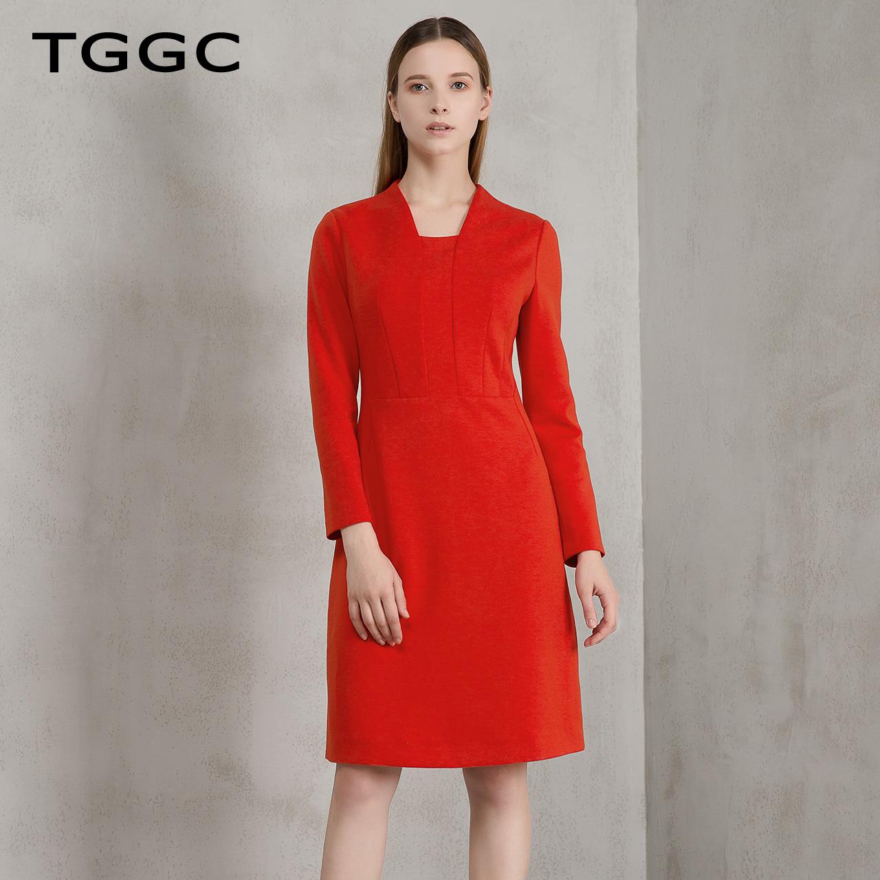 TGGC 2017冬装新款 通勤长袖开衩女中裙纯色高腰修身连衣裙F21676
