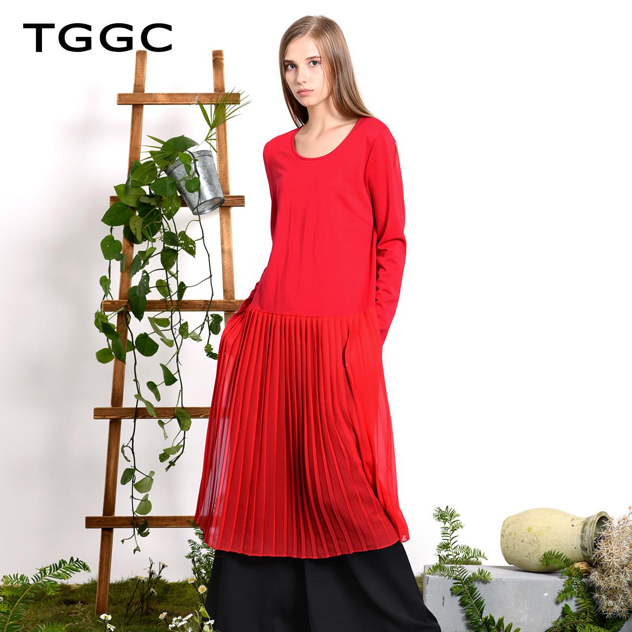 TGGC2018年春装新款针织雪纺拼接中长裙褶皱弹力宽松连衣裙F21896