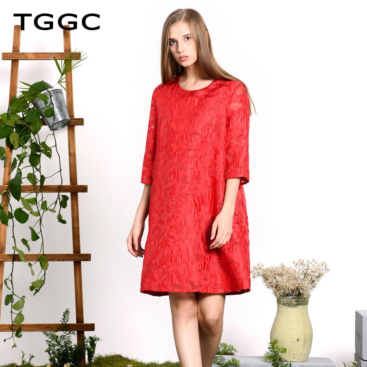 TGGC 2018年春装新款提花A型短裙通勤宽松五分袖雪纺连衣裙F21856
