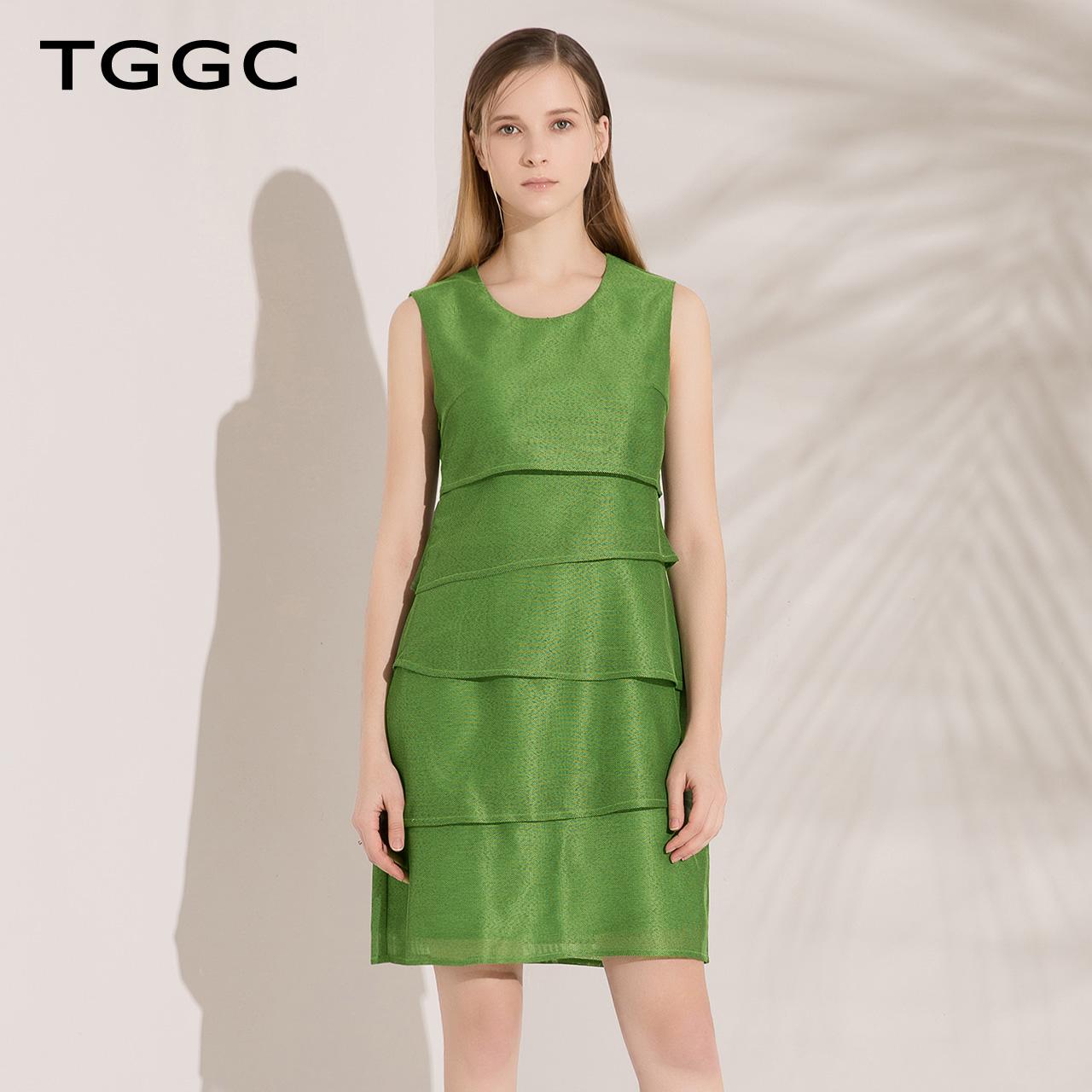 TGGC 2018春装新款通勤淑女高腰修身显瘦无袖A字短款连衣裙F21988