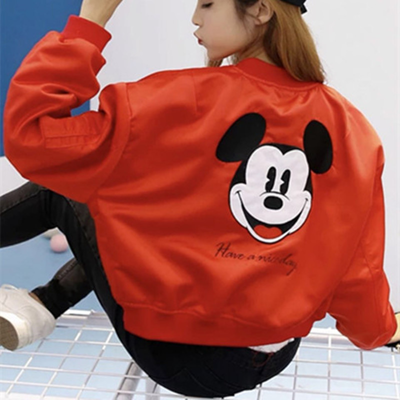 Lets love each other star same Mickey red thin spring and autumn womens Embroidered Baseball Jacket jacket jacket