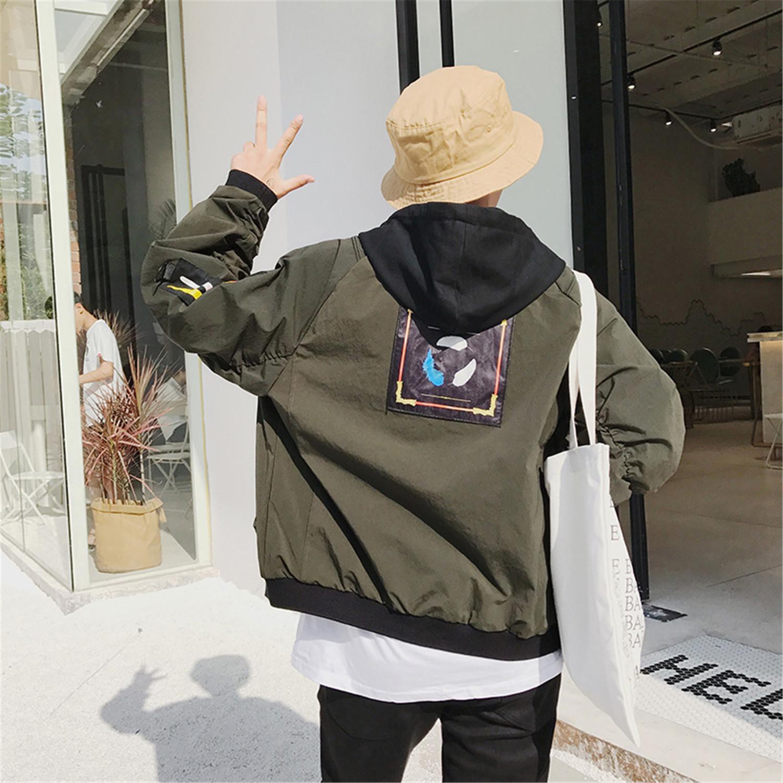2018新款港风宽松连帽男休闲夹克男士上衣JK22/P120