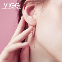 Vigg Butterfly Sterling Silver Earrings Femininity Korean simple hundred ear line long face thin earrings atmosphere