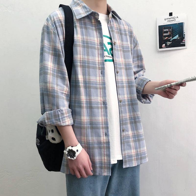 ins男装春秋日系磨毛长袖衬衫男士潮流文艺格子衬衣外套宽松寸衫
