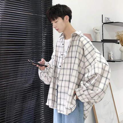 春季oversize格子衬衫男长袖韩版潮流帅气春秋薄款外套很仙的衬衣