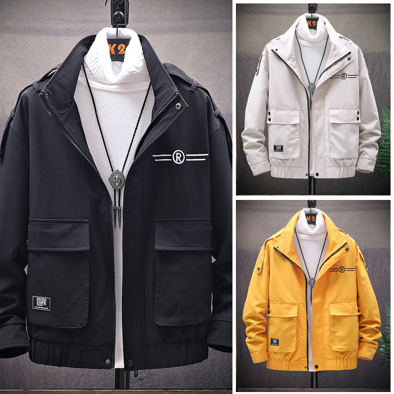 2021 autumn Korean letter embroidery fashion work jacket mens zipper stand collar jacket large pocket solid color top