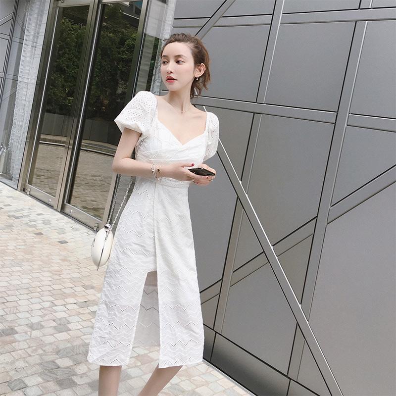 2019新款法式复古蕾丝很仙的沙滩裙限时2件3折