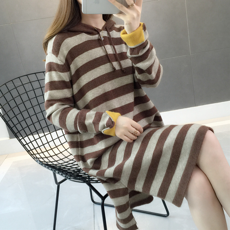 Korean womens clothing 2020 new spring dress spring womens mid long half high neck sweater loose bottomed sweater foreign style