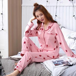 春秋季长袖开衫棉质韩版卡通睡衣