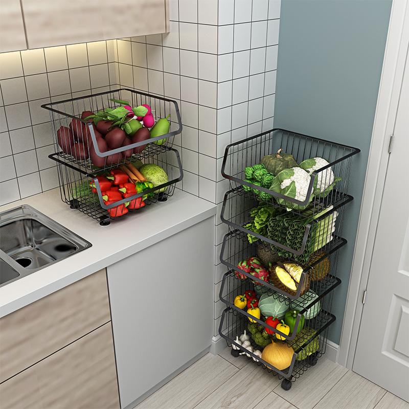 不锈钢厨房置物架家用落地多层收纳架放菜架蔬菜架篮子水果收纳筐