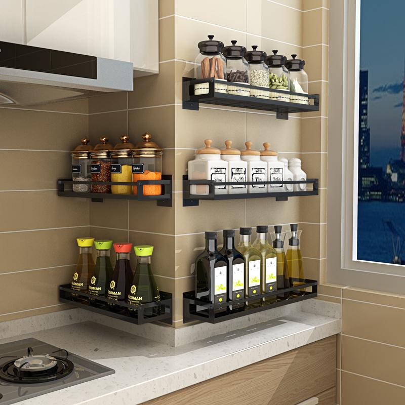 不锈钢厨房置物架盐糖调料作料架免打孔壁挂式油盐酱醋收纳架神器