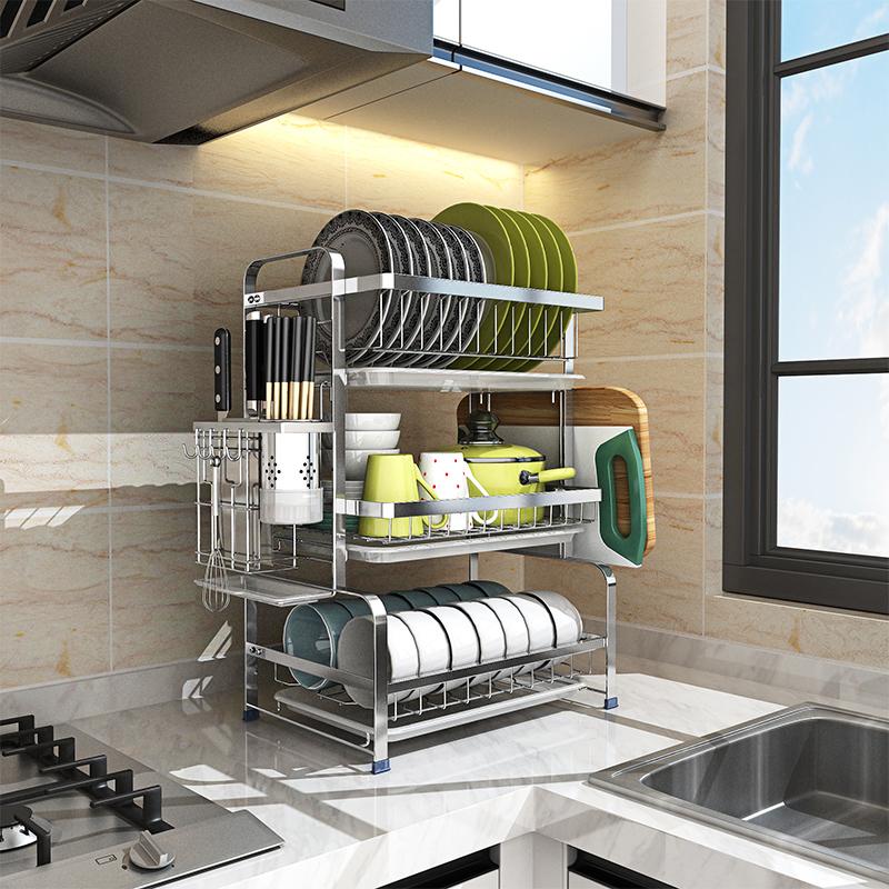304不锈钢碗架沥水架子晾碗筷碗碟碗盘用品收纳盒厨房置物架家用,可领取20元天猫优惠券