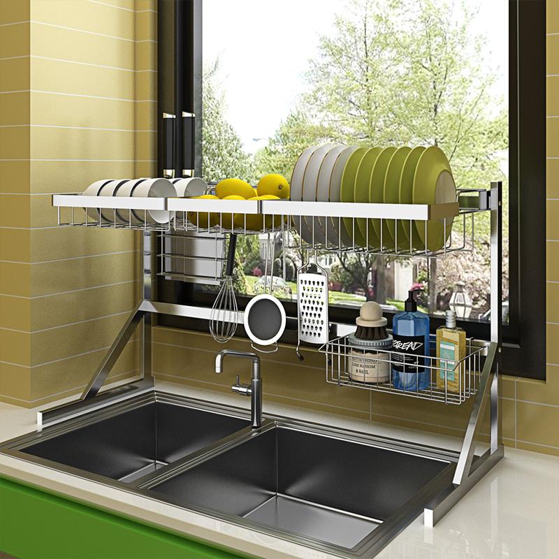 不锈钢晾碗水槽架沥水架厨房置物架用品2层收纳架水池放碗架碗柜,可领取10元天猫优惠券
