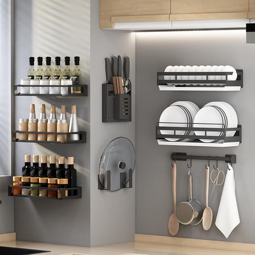 免打孔厨房置物架家用调味料收纳架壁挂式刀架挂架多功能用品大全
