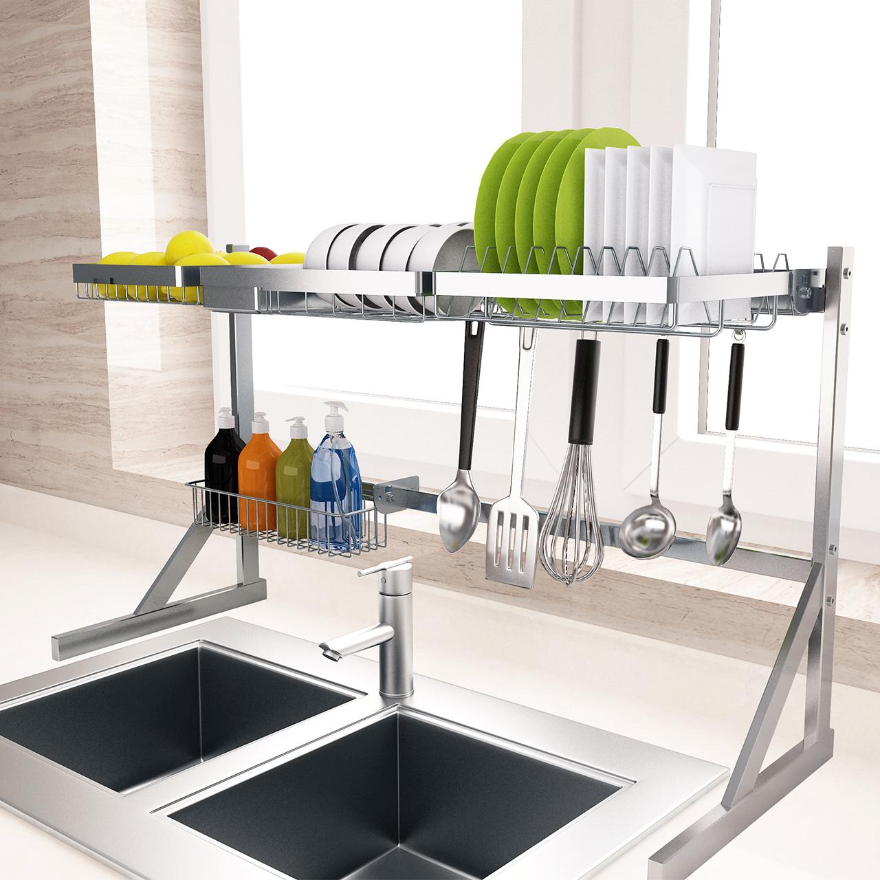 304不锈钢厨房置物架水池水槽架沥水架晾碗架碟收纳架家用多功能,可领取20元天猫优惠券