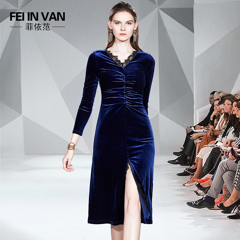 Velvet dress autumn and winter 2019 new long skirt womens coat feminine mature temperament with skirt