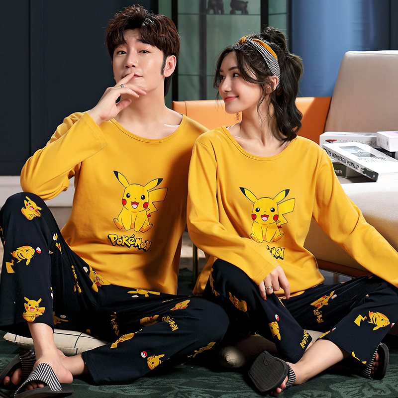 Korean couple pajamas female spring and autumn cotton long sleeve suit cartoon cute young male student Pikachu large