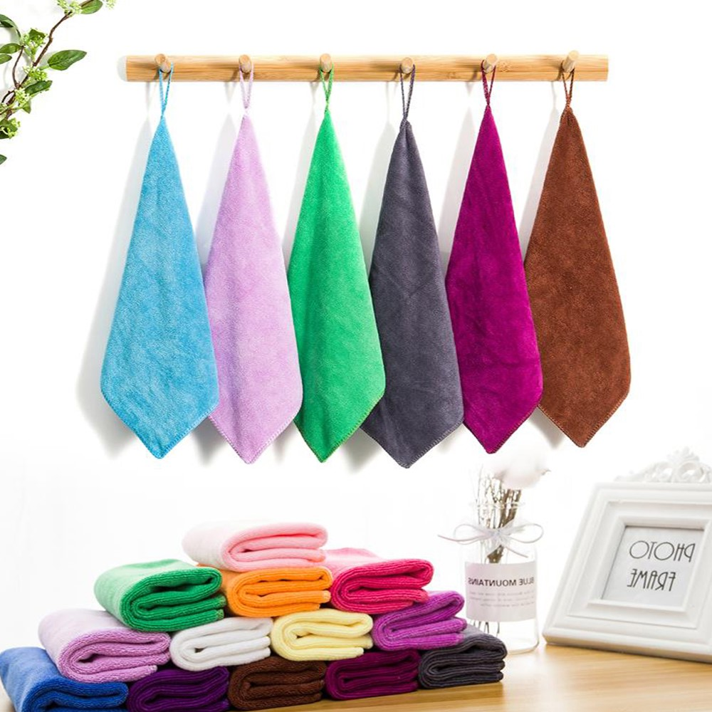 Kindergarten handkerchief wipes towel hanging type sanitary coral Plush thickened handy childrens square towel lovely