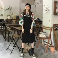 夏季2019年流行裙子新款宽松显瘦洋气中长款背带连衣裙女过膝长裙