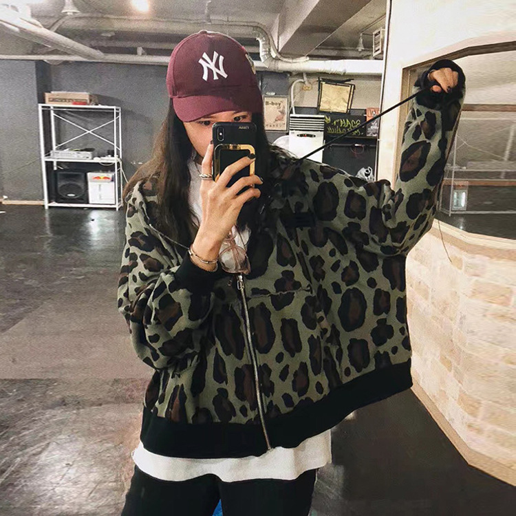 2018女装外套秋季新款复古豹纹男友风短外套女 新品热卖