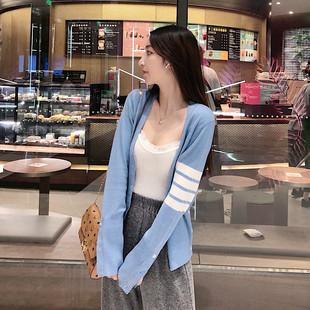 NGRM 2020春秋tb开衫V领羊毛针织衫毛衣修身显瘦短款上衣外套女