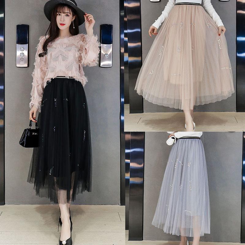 Winter base skirt large size Korean half length skirt womens 2017 new autumn and winter group mesh skirt pleated skirt medium length