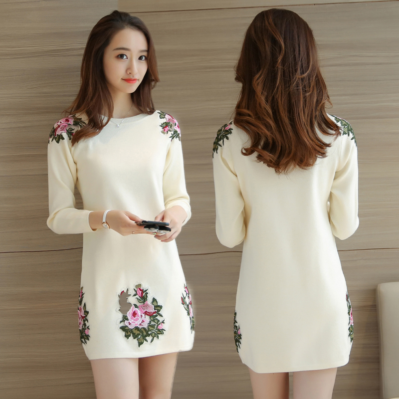 New Korean style jacket mid long sweater womens embroidered Pullover loose bottomed T-shirt for women