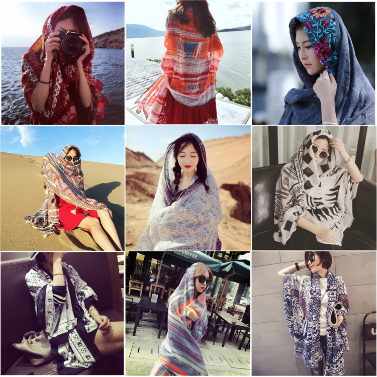Summer and spring seaside sunscreen large shawl cotton hemp national wind scarf dual purpose holiday scarf Women Beach scarf