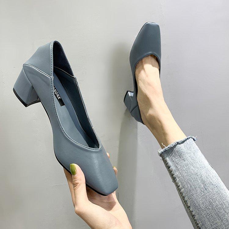 2020新款秋款两穿单鞋女鞋子潮鞋中跟粗跟高跟鞋方头奶奶鞋女浅口